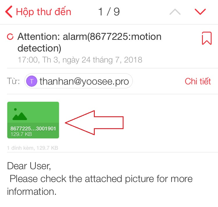 Hình ảnh báo động chuyển động được gửi qua email trên camera YooSee