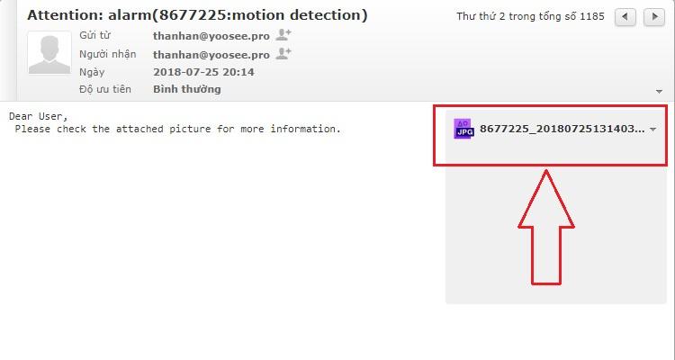 Tải file báo động camera YooSee trong email