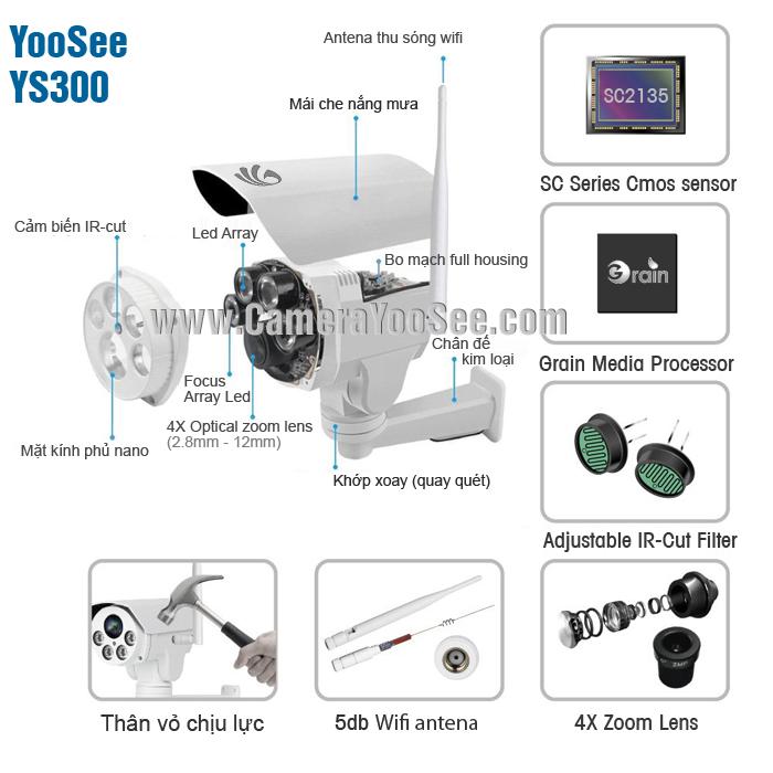 Thông số kỹ thuật Camera YooSee ngoài trời quay quét YS300
