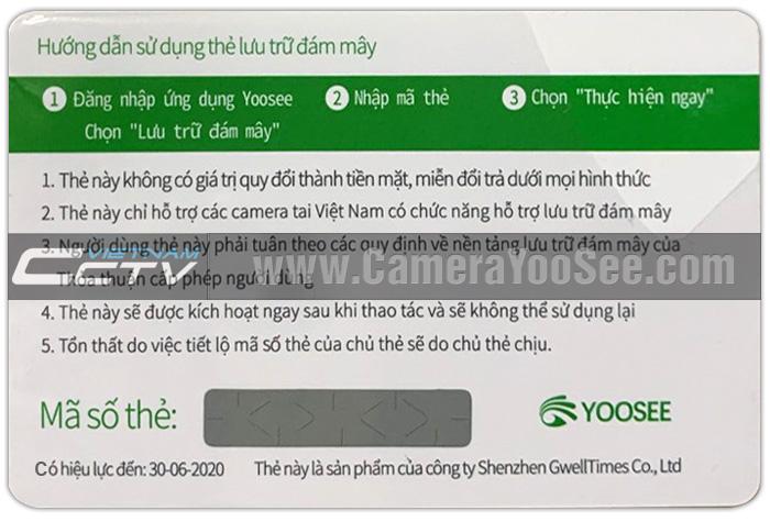 Đại lý phân phối thẻ cào ghi hình đám mây camera YooSee