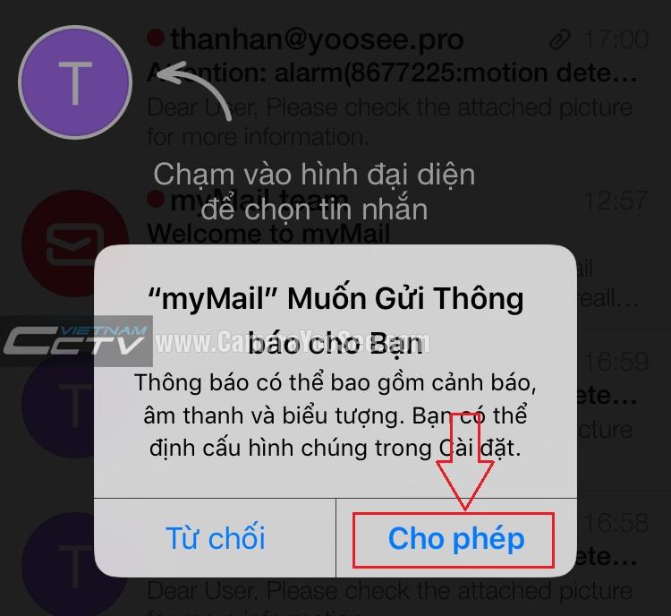 Bật chức năng nổi thông báo có email trên điện thoại di động