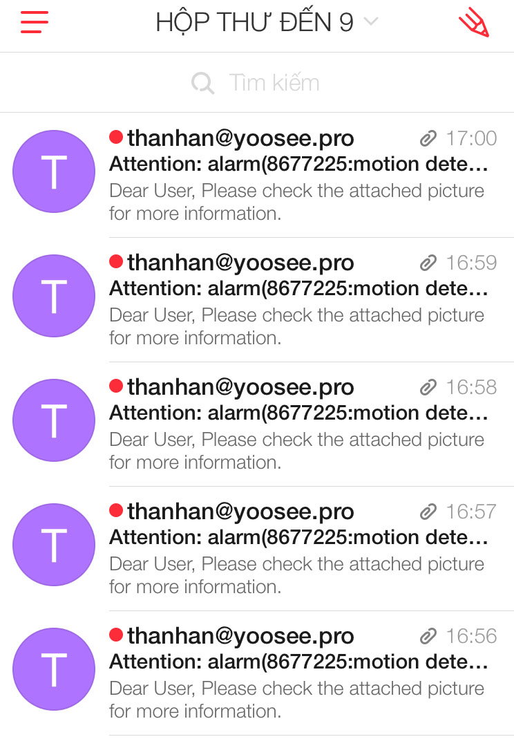Email YooSee, YooSee mail, YooSee email, alarm email for YooSee