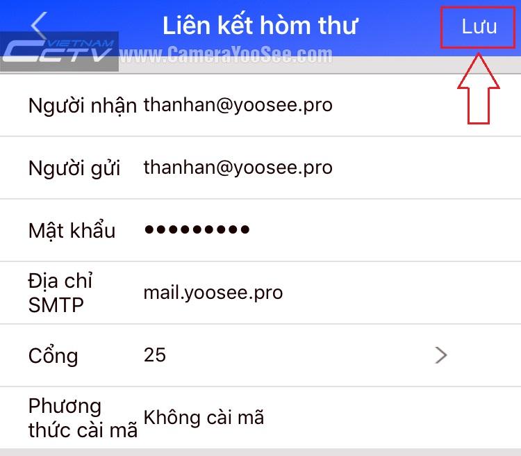 Thông số cài đặt email báo động YooSee