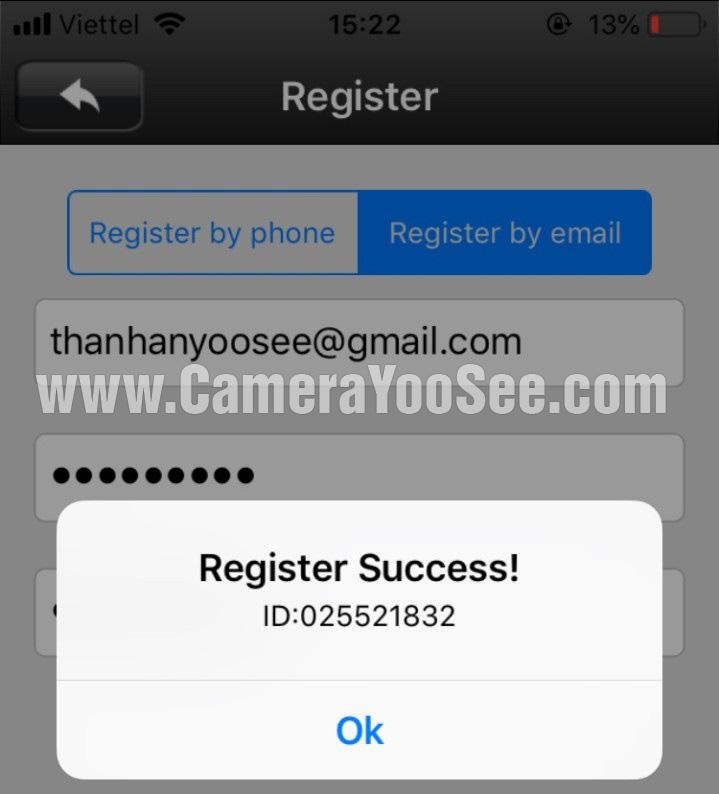 Đăng ký YooSee thành công không 100%